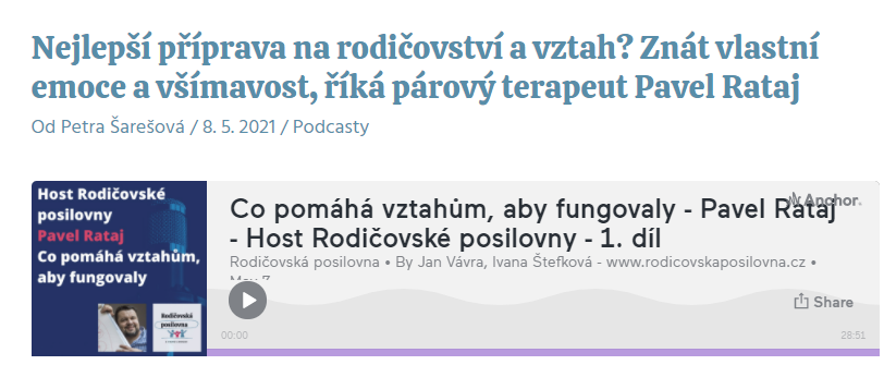 RODIČOVSKÁ POSILOVNA - párový terapeut Pavel Rataj